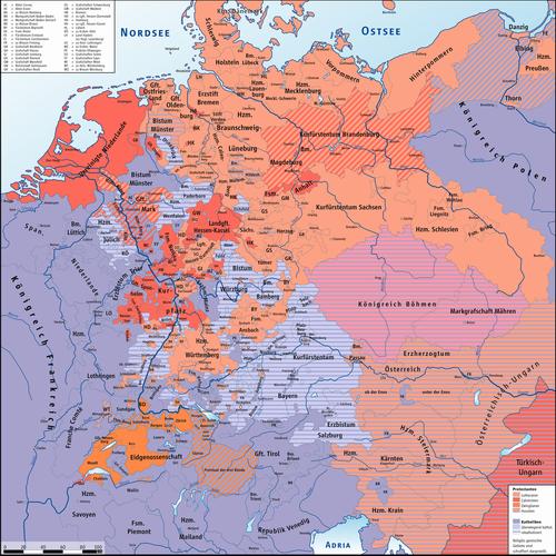 Die Konfessionen in Mitteleuropa um 1618