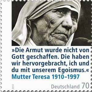 deutsche sonderbriefmarke anlsslich des 100 geburtstags von mutter teresa mit dem text die armut